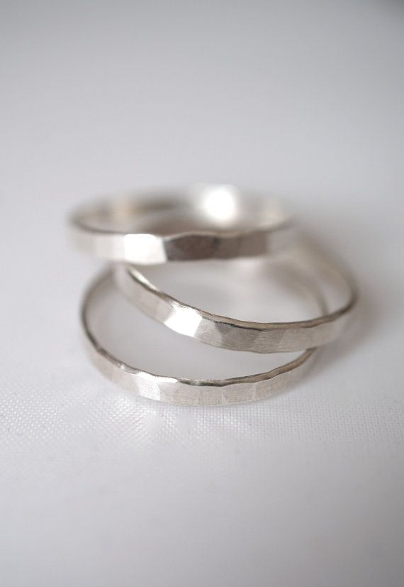 Sterling Silver Stack rings set of 3 Extra Thick by hannahnaomi