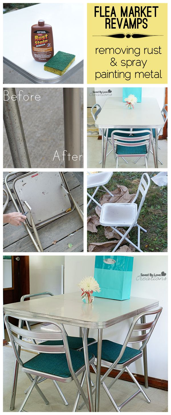 Cool Flea market Vintage table revamp with tips on how to remove rust from chrome AND spray paint metal chairs to look chrome.  Full kitchen table and chairs with adorable vintage charm for under $60 @savedbyloves