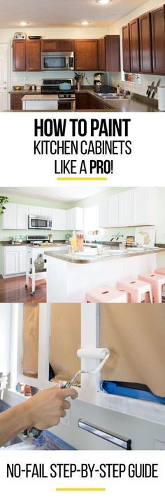 How to paint kitchen cabinets like a pro. Whether you're looking for a white, gray/grey, black, blue, or rustic/antique/distressed finish, this step by step DIY guide will show you how it's done. Hide those ugly dark brown wood cabinets in your home or mobile home. It isn't an easy job and you can't get by without sanding, but you'll be so proud when you're done! This is the right way to do it with a roller and a brush.
