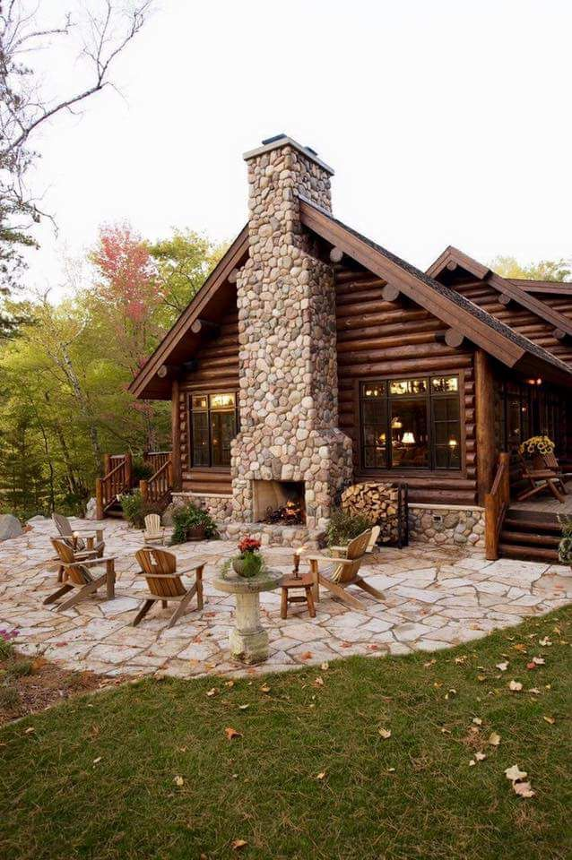 Log cabin patio Adirondack chairs, outdoor fireplace  Room With a View on Facebook