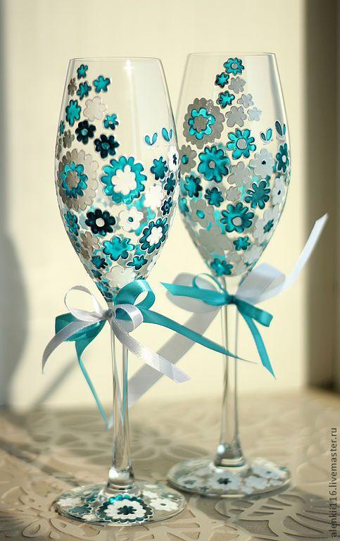 "Свадебные бокалы ""Бирюзовые цветы"" - свадебные бокалы, бокалы для молодоженов / Wedding champagne glasses"