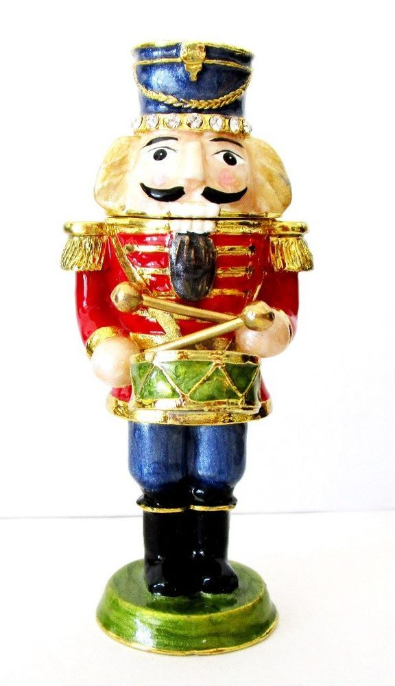 Nutcracker Soldier Playing Drum Jeweled Hinged Trinket Box #KublaKraft