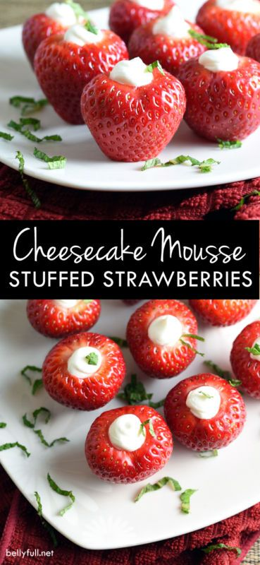 Freshly hulled strawberries are stuffed with an amazing cheesecake mousse. Eat as a snack or serve as a healthy dessert!