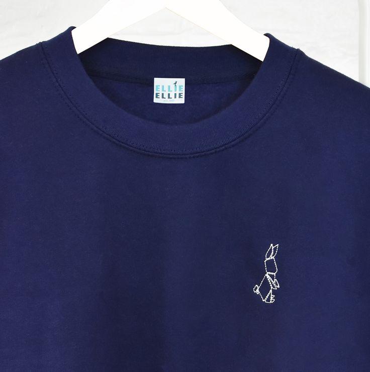 Origami Bunny Embroidered Ladies Jumper Sweatshirt - Ellie Ellie