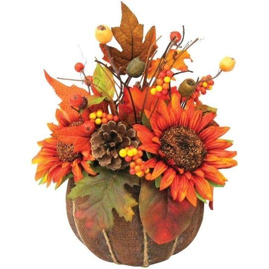 Celebrations KKCH120561ACE Fall Burlap Halloween Pumpkin Decor, 13, Orange
