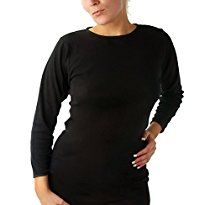 Rosette Women's Long Sleeve Undershirt, Smooth and Seamless, 100% Cotton, X-Large, Black