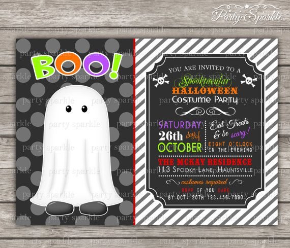 Halloween Party - Costume Birthday Invite - Ghost - Personalized Digital Custom Party Invitation 4x6 or 5x7 jpg or pdf