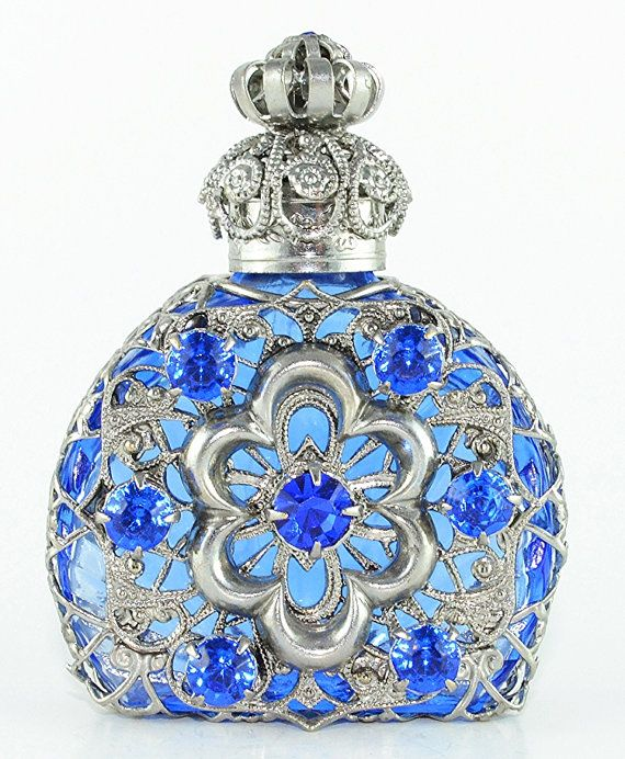 Perfume Bottle Rare Vintage Silver Tone by Jewelryandvintage - Pretty!