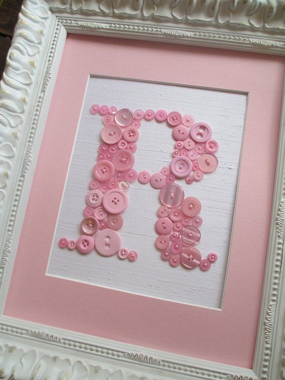 Baby Nursery Wall Art, Button Letter R on Silk, Button Art, Personalized Kids Wall Art, Wall Canvas or Ready-To-Frame (frame not included)