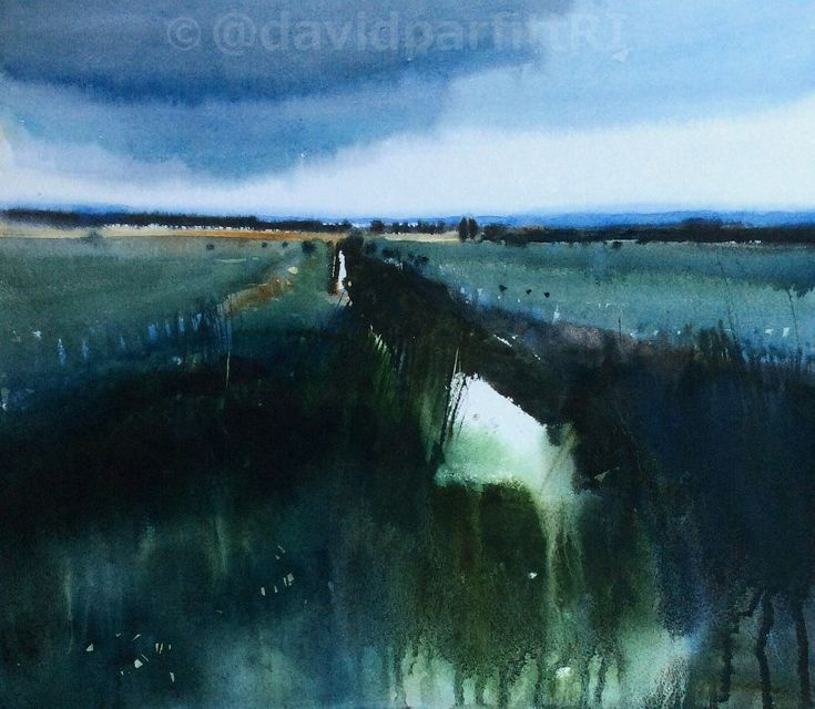 'It's starting to rain' watercolour David Parfitt RI www.davidparfitt-art.co.uk