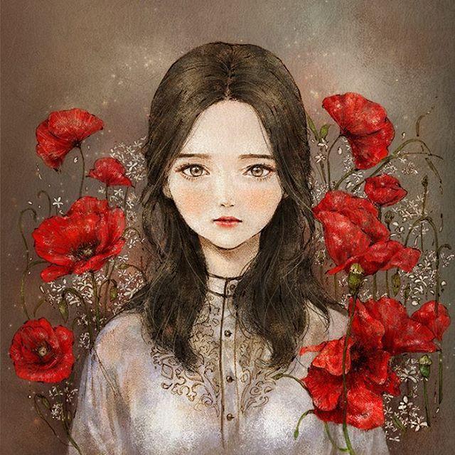 Red Poppy Flower Woman #illust #illustration #red #redlips #redpoppy…