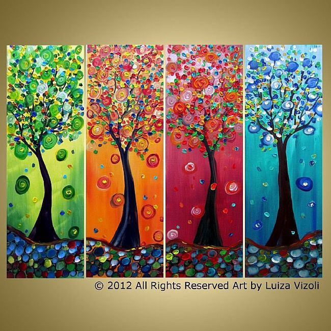 Art: SEASON TREES in Pastel Colors by Artist LUIZA VIZOLI