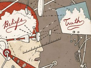 Many people will distinguish a belief from knowledge, in that knowledge requires evidence, and truth does not. Illustration: Jonathon Rosen