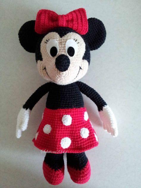 Minnie Mouse – handgemachte Häkelpuppe Geburtstagsgeschenk, Baby-Dusche-Spielzeug