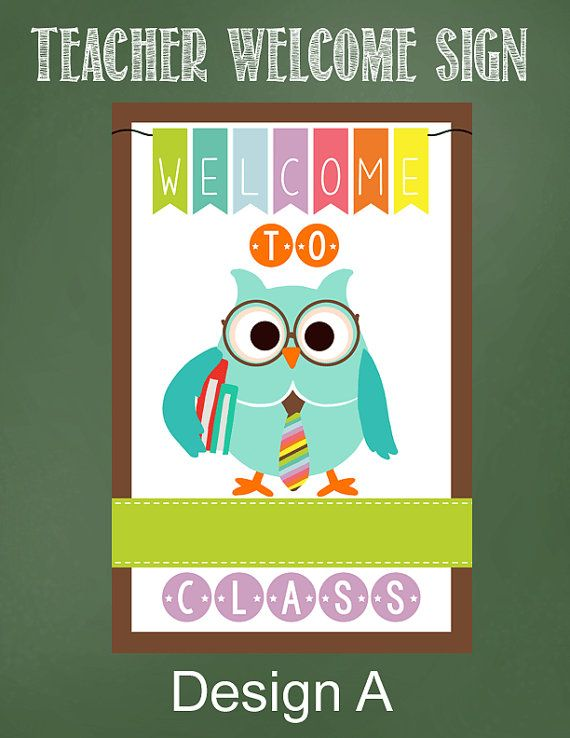 Teacher WELCOME Sign Welcome students and classroom guests with this magnetic sign. Product Information - Size 11.60 x 17.70 - sign has magnetic back - displays great on metal doors and magnetic chalk and dry erase boards ***** Please include teachers name in the Note to Artrageous Fun section when placing order.