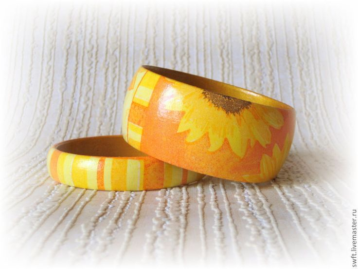 Купить 2 женских браслета Оранжевое солнышко. Желтый дерево полосатый солнце - браслет