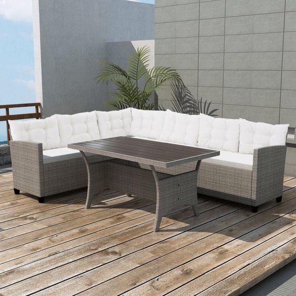 6 Sitzer Lounge Set Iseson Aus Polyrattan Mit Polster Mit Bildern Polyrattan Aussenmobel Sitzgruppe