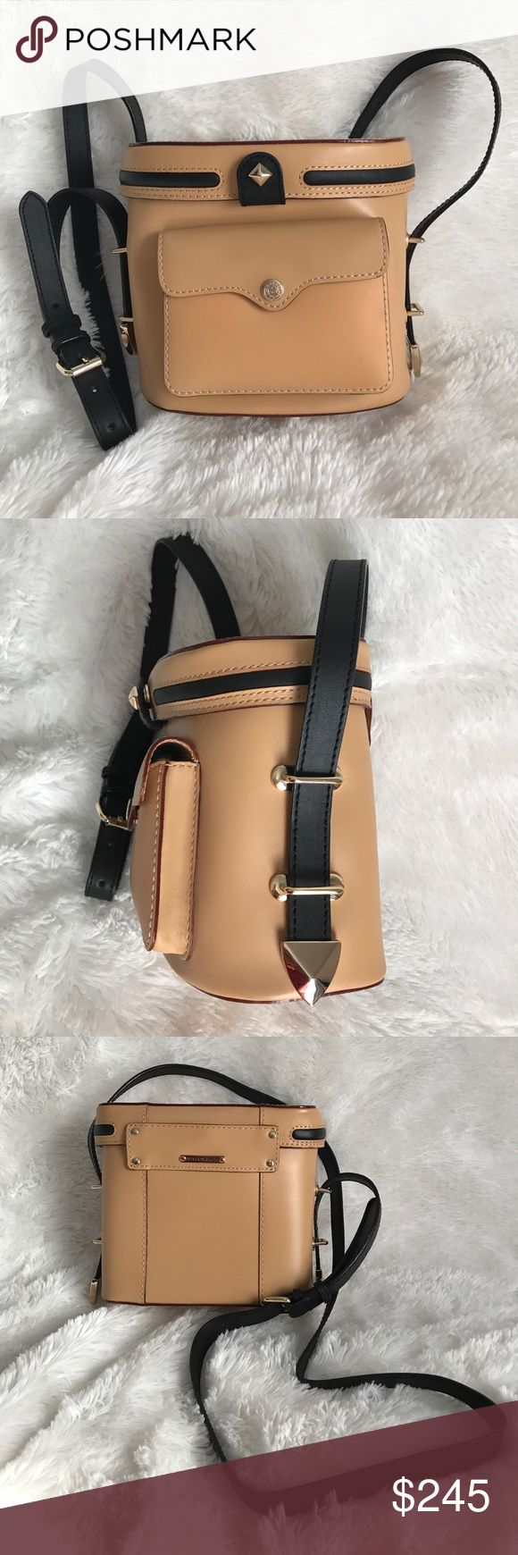 """NWOT Natural & black leather bag Has a few barely noticeables that were present at purchase -- two most likely by manufacturer. Height:~6.4"""". Width at base:~6.9"""". Magnetic closures. Adjustable strap.  NO inside pocket. One outside pocket. Due to lack of room I am unable to take a picture of the inside of the outside pocket. It appears whatever manufacturer did/used gave a brown discoloration to the edging of the inside lining. plontwsxppll Rebecca Minkoff Bags Shoulder Bags"""