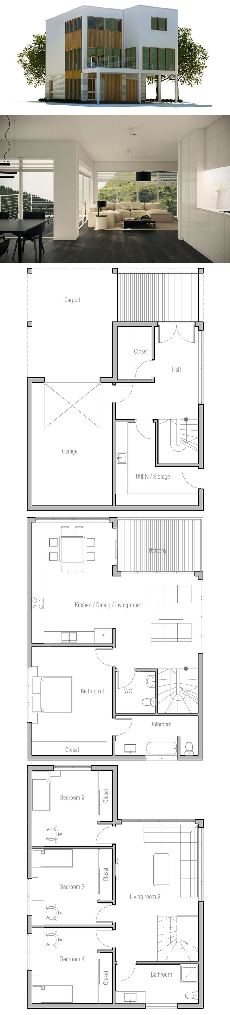 plus de 1000 id es propos de maisons minimalistes sur pinterest plans de maison plans de. Black Bedroom Furniture Sets. Home Design Ideas