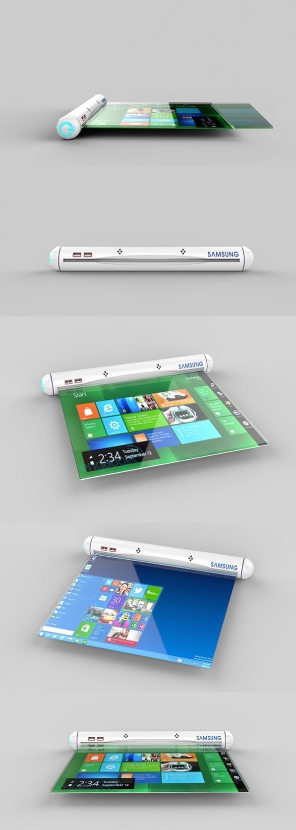 The Samsung Flexible Roll applies future #flex tech to create the most portable tablet laptop