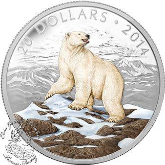 Coin Gallery London Store - Canada: 2014 $20 Iconic Polar Bear Coloured 1 oz Silver Coin, $99.95
