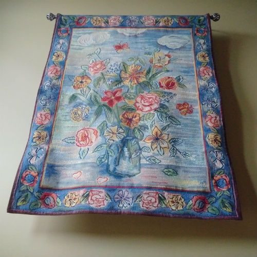 A high quality French tapestry woven in wool and cotton, the Garden Flowers in a Vase tapestry - modern floral wall art.