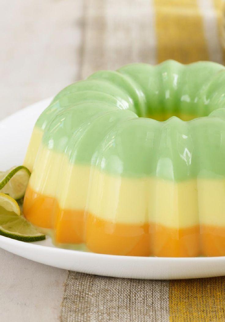 Cremosa gelatina de sabores cítricos-Disfrutarás este postre de gelatina no solo por su belleza, sino que también porque es delicioso y fácil de preparar