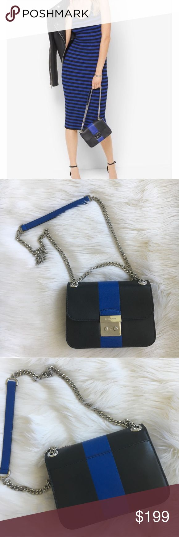 Michael Kors handbag Striped Shoulder bag in electric blue and black with Silvertone hardware by Michael Kors. Comes with fust bag. New! Authentic trades MICHAEL Michael Kors Bags Shoulder Bags