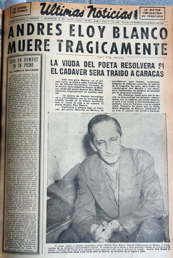 Portada del diario Últimas Noticias de 22 de mayo de 1955, el cual titula la muerte de Andrés Eloy Blanco