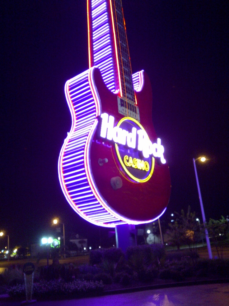 Giant Neon guitar outside of Hard Rock Casino in Biloxi...great trip and dinner at Vibe Steakhouse too! read my review at: http://southerngaming.com/?p=4423