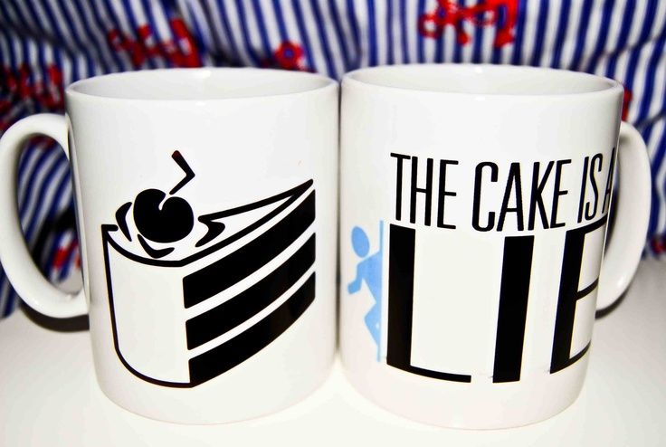 Portal / Portal 2 Game Mug - The Cake Is A Lie.