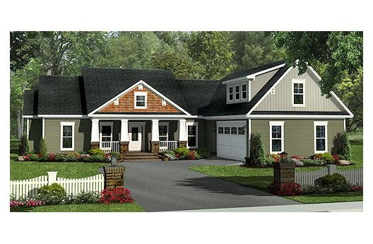 Front Elevation - bonus room and no dinning room.  we don't need a dinning room. just a eat in kitchen works for us!