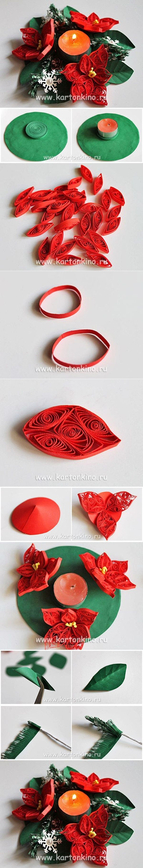 DIY 3D Quilling Flower Candle Holder - http://www.dollarstorecrafts.me/diy-3d-quilling-flower-candle-holder/
