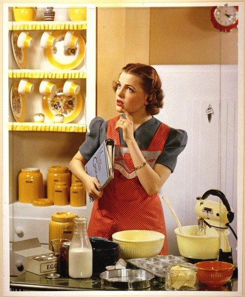 What should I make for dinner?  reminds me of my mother, looks like her mixer, she always wore an apron, her house was always CLEAN, and she always cooked big meals for 7 kids and my Daddy.  Here is to you Mother.