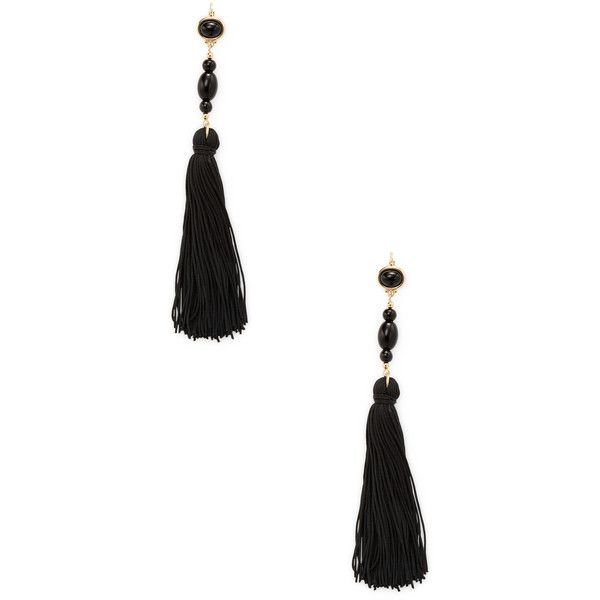 Kenneth Jay Lane Women's Tassel Statement Earrings - Black (36 CAD) ❤ liked on Polyvore featuring jewelry, earrings, black, kenneth jay lane jewelry, fish hook jewelry, fish hook earrings, tassel jewelry and fishhook earrings