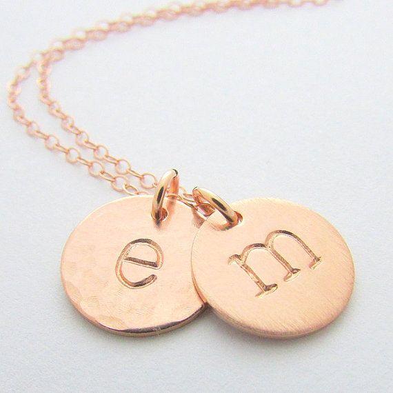 Erste Halskette Rose Gold Buchstaben Halskette von ERiaDesigns