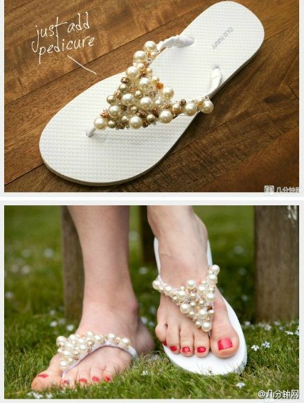 TUTO DIY customisation chaussure tong de mariage 6