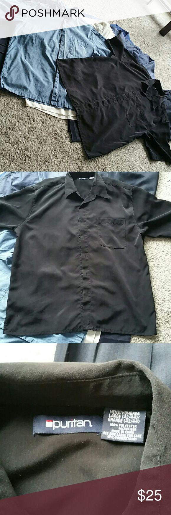 2 for 1 Special! Men's Short Sleeved Dress Shirts 1. Black Satin Finish,  Single Front Pocket,   Brand: Puritan Size LG 43/44 2. Blue/Grey Ribbed Cotton Finish, Single Front Pocket,  Brand: Arrow  Size: Large Puritan Shirts Dress Shirts