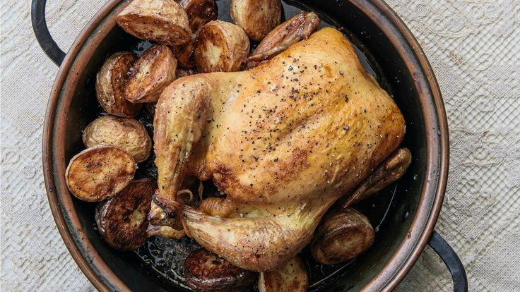 Simple Roast Chicken & Potatoes Curtis Stone:  This golden, juicy roast chicken deserves a spot on your dinner table