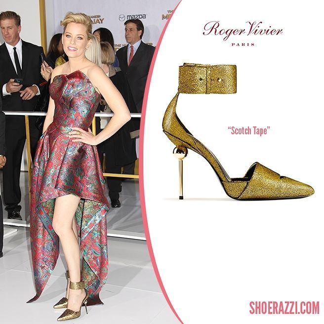 Elizabeth Banks wore Roger Vivier Scotch Tape pumps to the premiere of The Hunger Games: Mockingjay  Part 1 held at Nokia Theatre L.A.