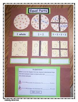 Fractions Halves and Fourths First Grade - deirdre forde - TeachersPayTeachers.com