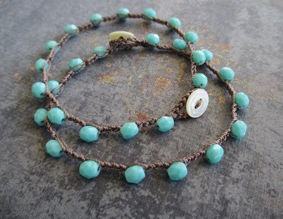 Armband Türkis blauen Perlen häkeln - Gestricken SlashKnots Ablagefächer