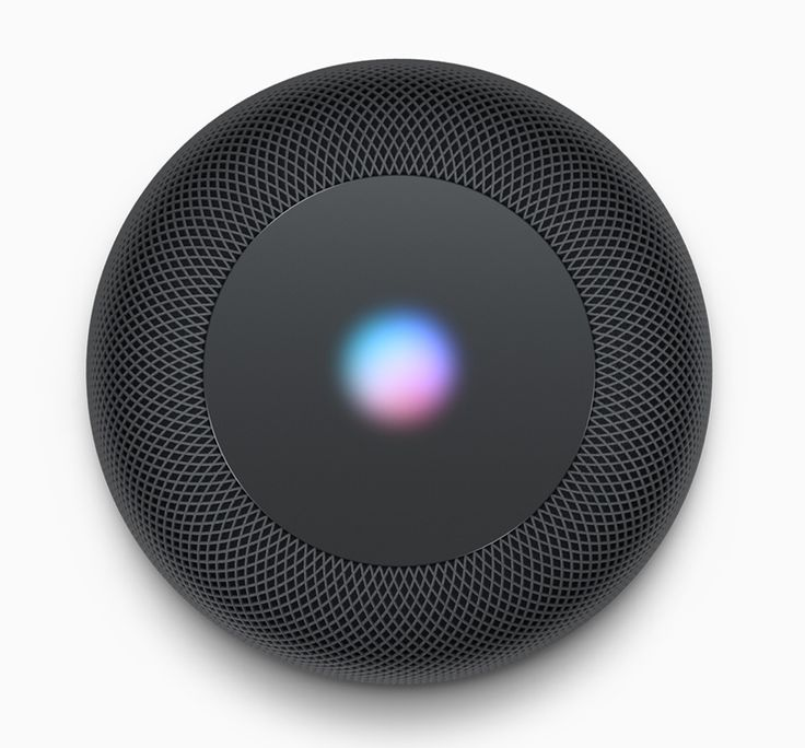 Apple 'HomePod', a wireless home speaker that uses spatial awareness to sense its location in a room.