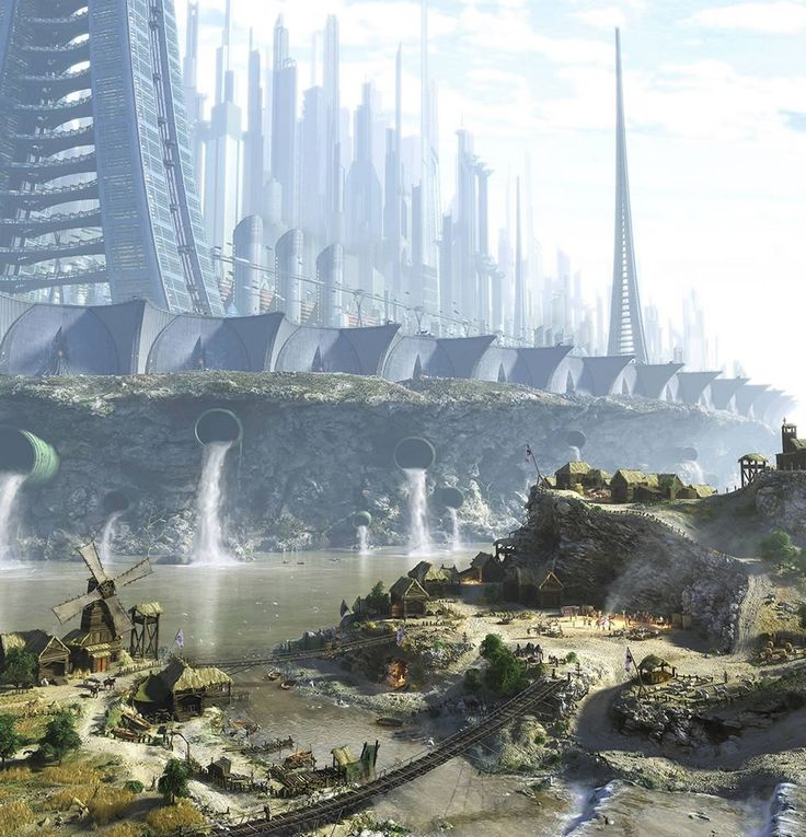 Futuristic city, shrouded from the outside, less-fortunate populace. This could be reality one day.