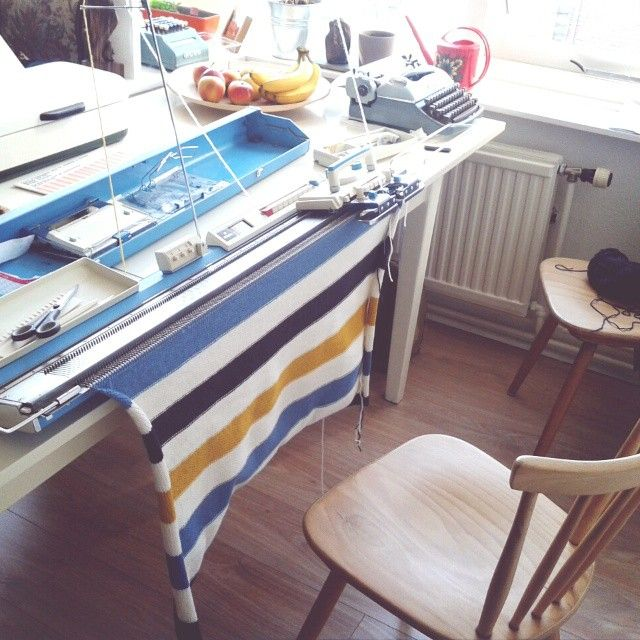 This was my first knitting machine, a Brother 588, 8 push-button, and I still...
