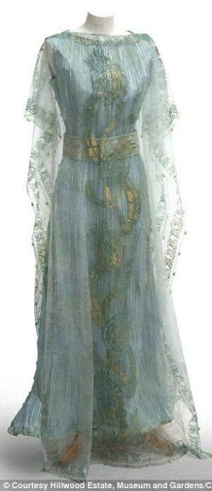 Stunning!!!!! 1908 Callot Soeurs dress by Kay Berry 1900s turn of the century blue silk sheer embroidered pale aqua gold grecian