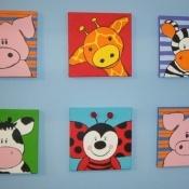 Schilderijtjes dier € 25,00 per schilderijtje. Schilderijtje dier met kader €25,00. #schilderijtje #kinderkamer #Decodomus