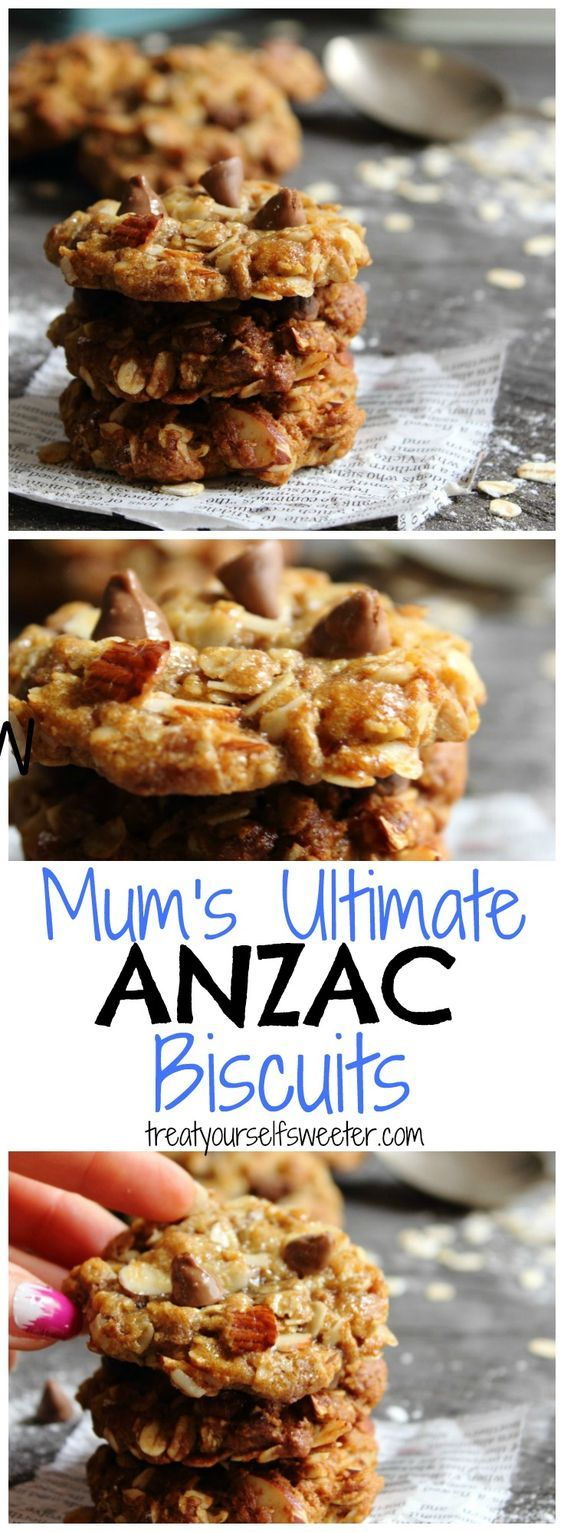 Mum's Best Anzac Biscuits; crisp on the outside and chewy on the inside. With almonds and chocolate too, these oat cookies are easy to make and absolutely delicious.