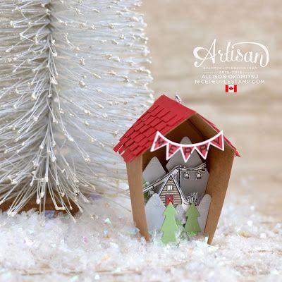 The Home Sweet Home Thinlits are perfect for creating a shadowbox house ornament. - Allison Okamitsu