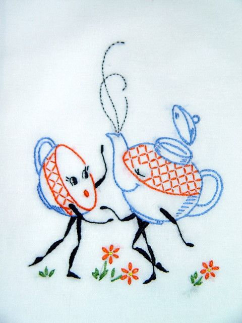 TEA FOR TWO - hand embroidered flour sack tea towel with vintage embroidery design